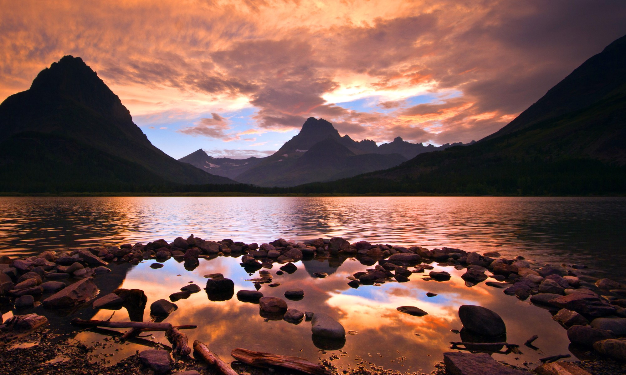 Sunset in Glacier National Park at Lake McDonald