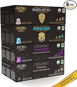 Nespresso Compatible Barrie House Fair Trade Organic Espresso Capsules Dark Roast Bold Variety Pack 80 ct --Fits in Nespresso OriginalLine
