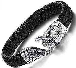 Ostan Men's Bracelet Braided Leather Bracelet Snake Simple Fashion Bangle Clasp Best Jewelry Gift for Men
