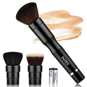 INTEY Electric Makeup Brush, Automatic Spinning Foundation Brush Set with 3 Heads, 360° Rotating Cosmetic Brush, Black