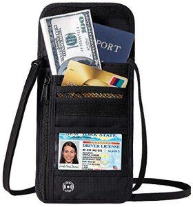 Defway Travel Wallet RFID Blocking Hidden Money Pouch & Neck Passport Holder