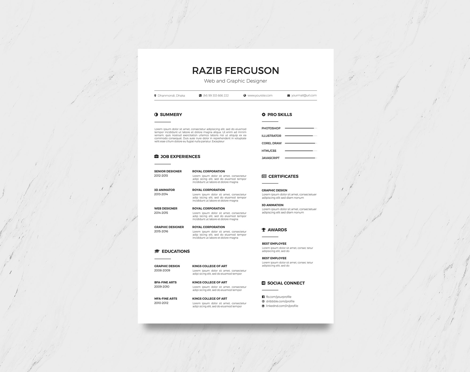 Simple Free Resume Template Simple Multi Format Free Resume Template