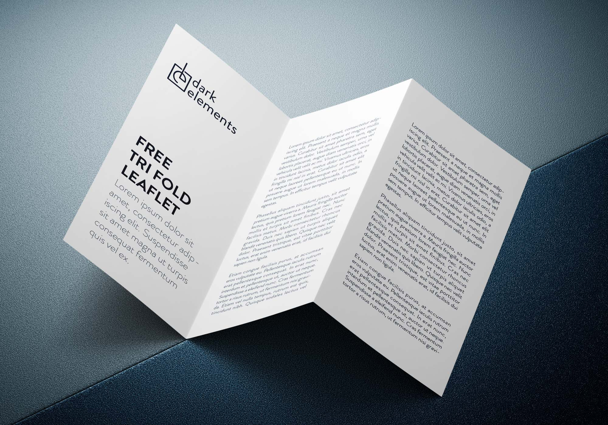 This is a collection of best free leaflet mockup psd for the presentation of your leaflet design. Dark Trifold Leaflet Mockup Psd
