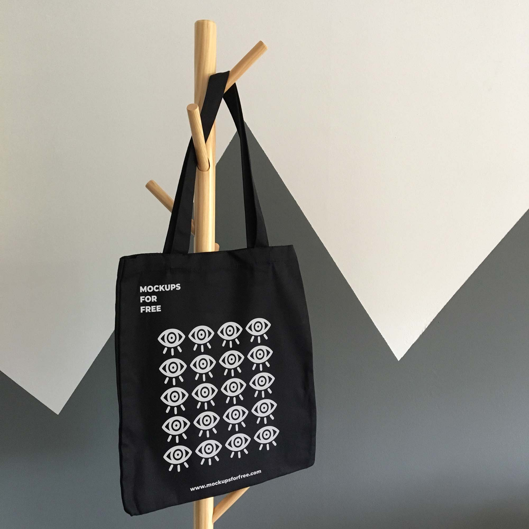 You can also use this free tote bag mockup psd to present your logos, artworks, badges or showcase. Free Black Tote Bag Mockup Psd