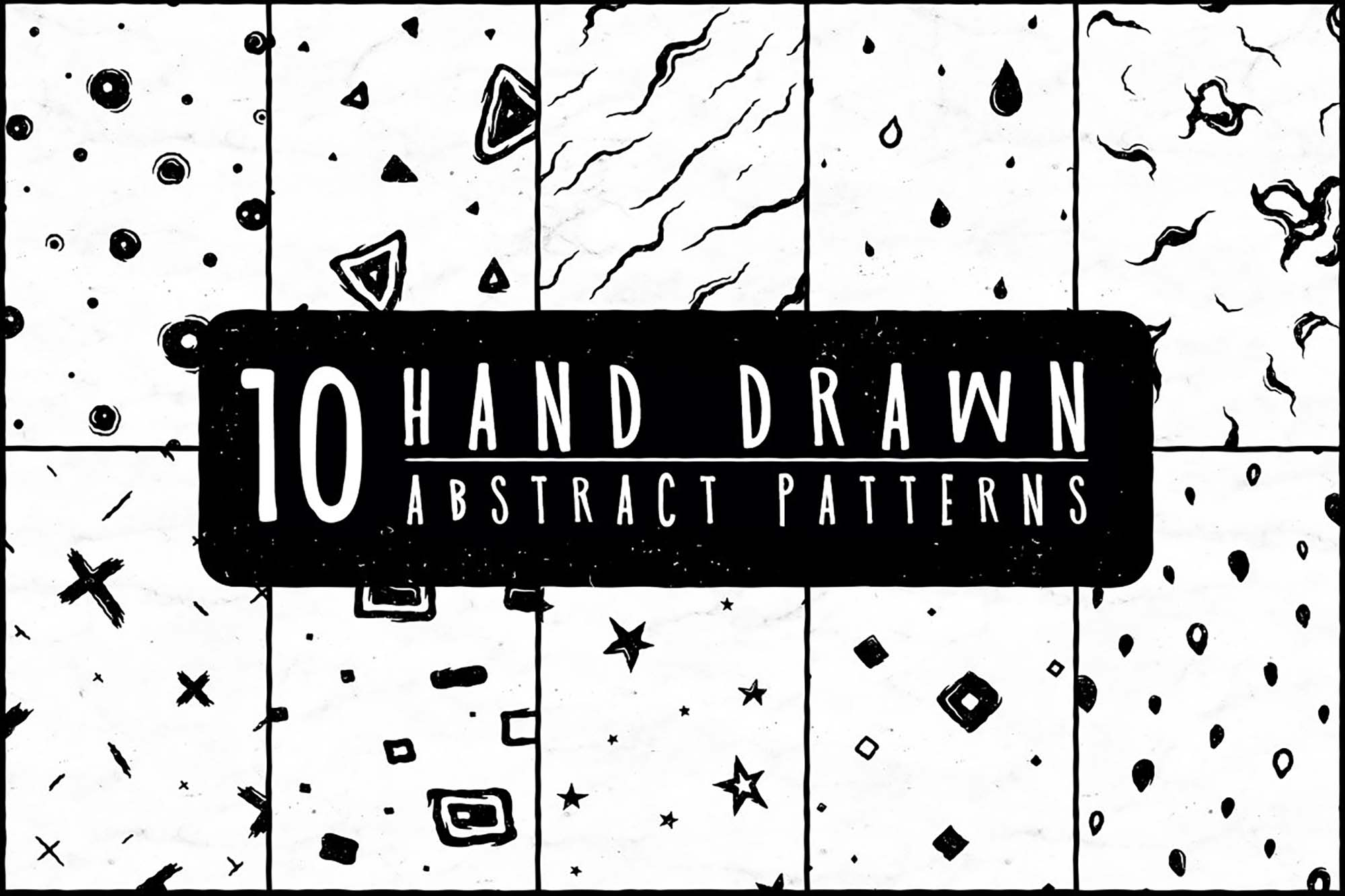 10 Free HandDrawn Abstract Patterns (PNG)