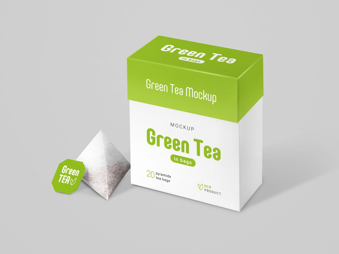 Download Free Tea Bags Packaging Mockup (PSD)
