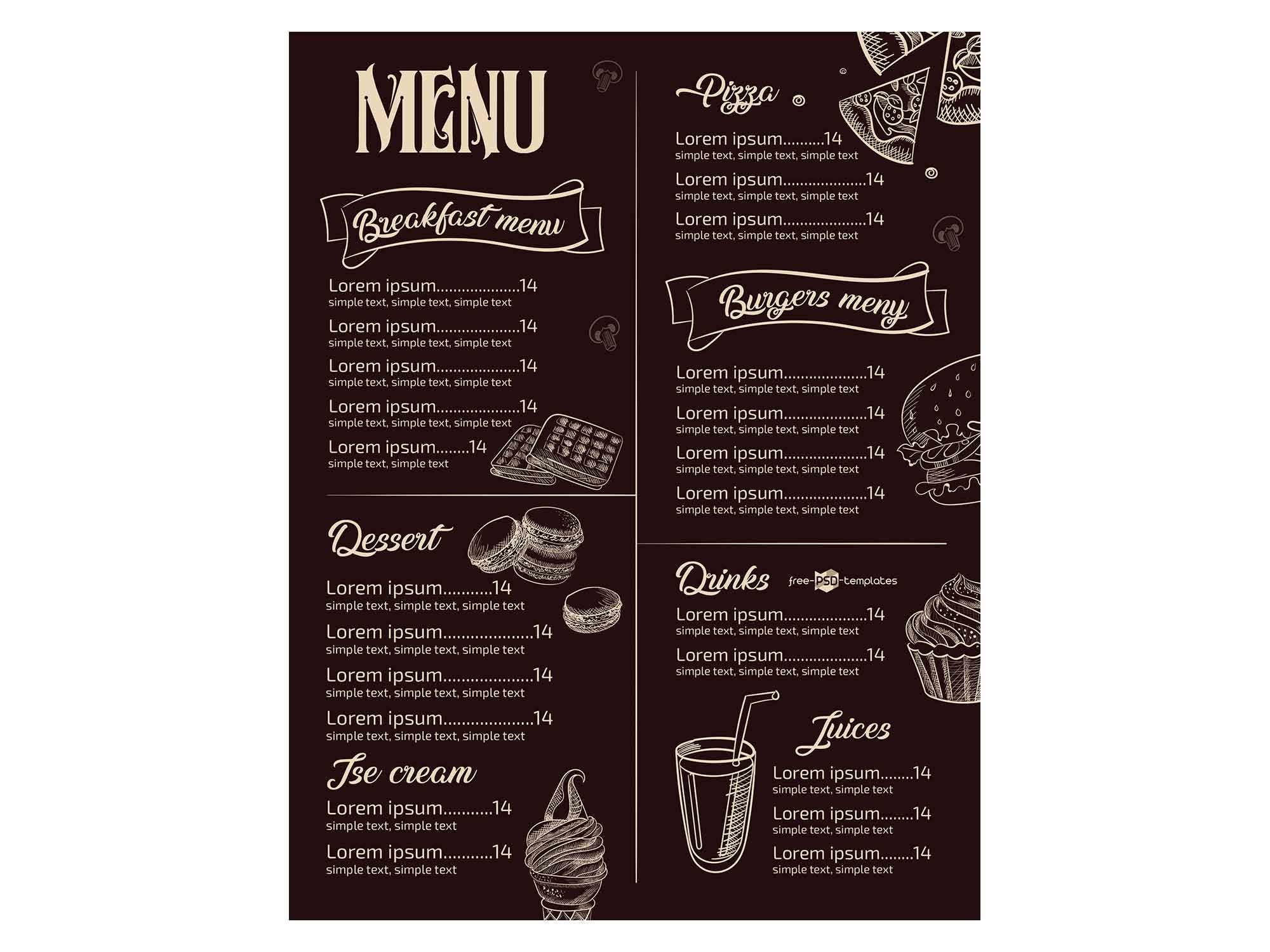Free Restaurant Menu Template Psd