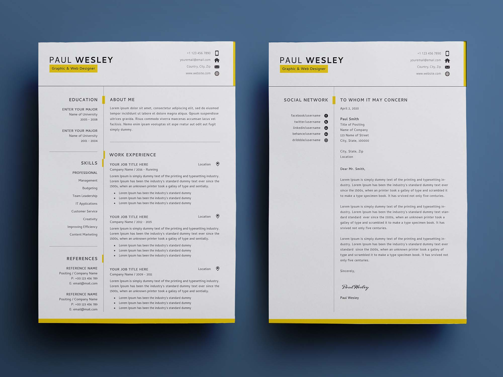 You'll find a variety of free resume samples and examples right here. 2 Page Free Resume Template Psd