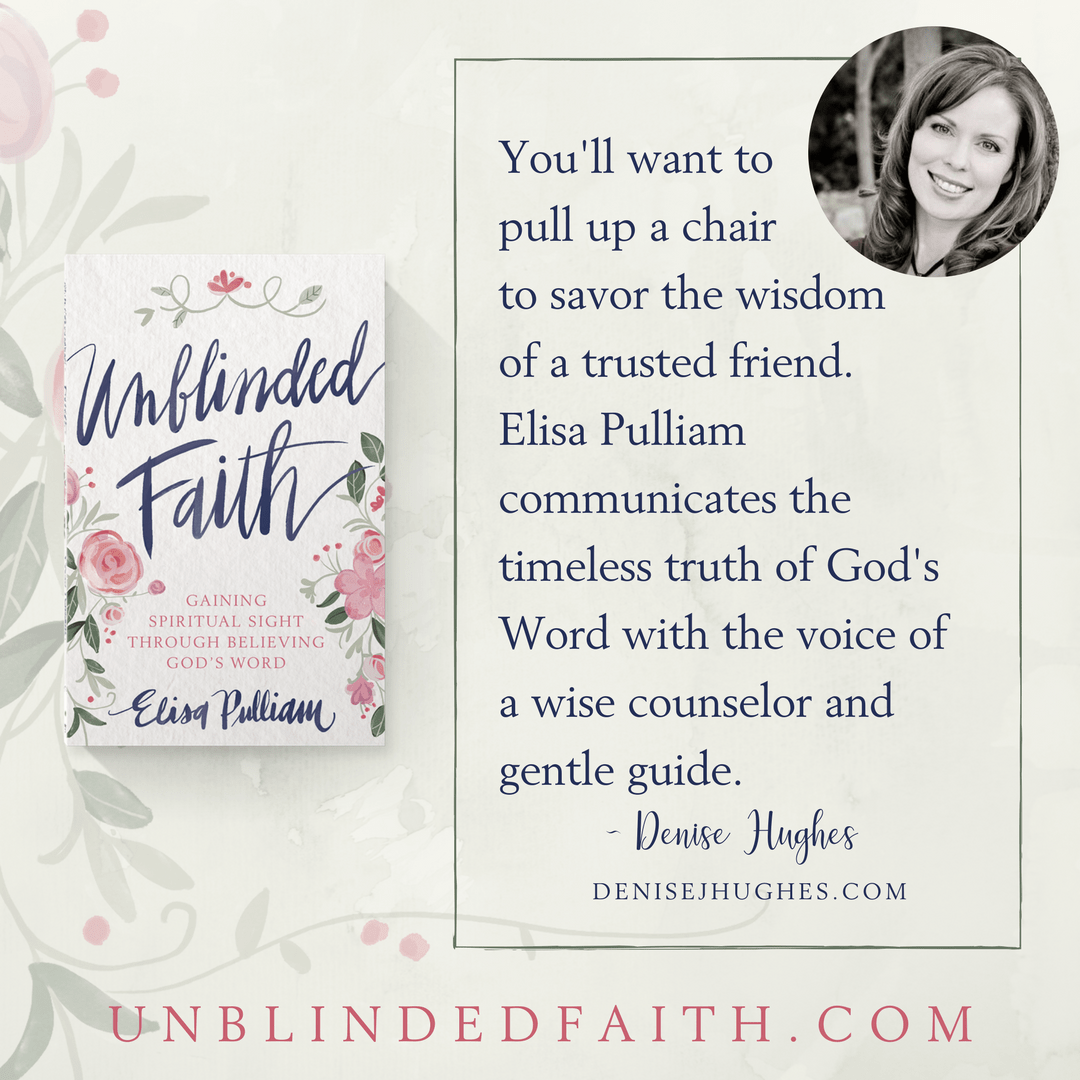You'll want to pull up a chair to savor the wisdom of a trusted friend. Elisa Pulliam communicates the timeless truth of God's Word with the voice of a wise counselor and gentle guide. - Denise Hughes
