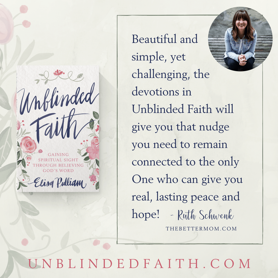 Living full of faith in the midst of the harsh realities of life can be a struggle sometimes. Beautiful and simple, yet challenging, the devotions in Unblinded Faith will give you that nudge you need to remain connected to the only One who can give you real, lasting peace and hope. - Ruth Schwenk