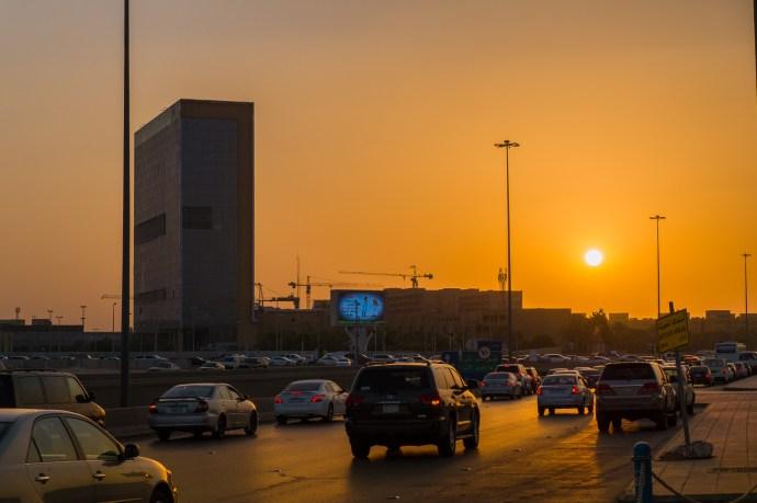 Saudi road at sunset