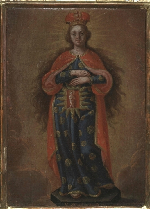 The most frequent representations of pregnancy in medieval and early-modern Christian art show the expectant Virgin Mary. Jesus is depicted as a child inside her transparent womb or, in sculptures, within a niche closed by glass doors. This early-18th-century oil painting is found in the Diocesan Museum, St Pölten, Austria.