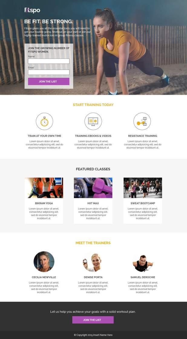 Unbounce's Fitspo landing page template