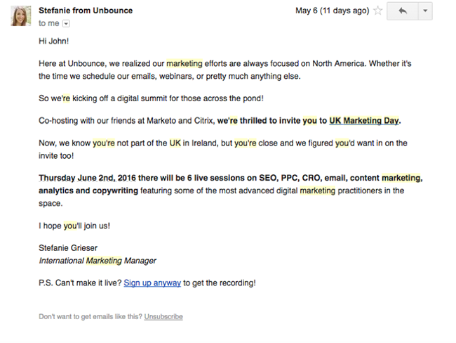 UK Marketing Day email example