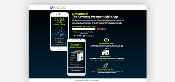 App landing pages: Advanced Producer