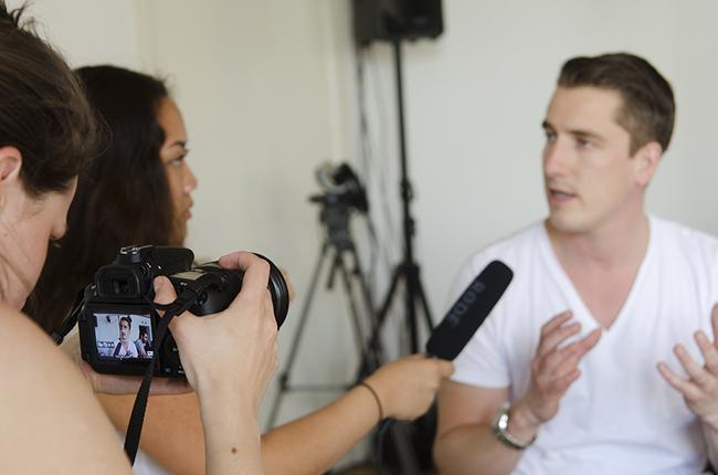 Customer being interviewed