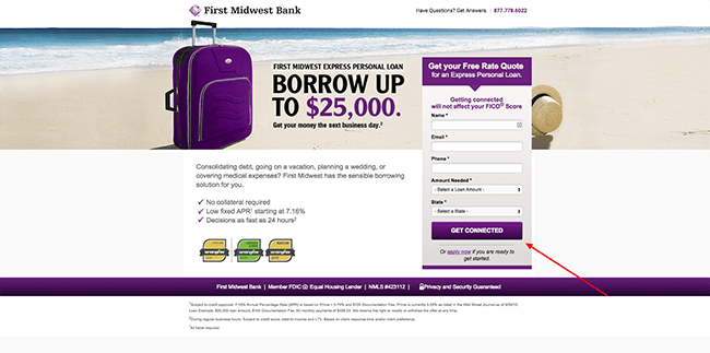Midwest Bank Champion Landing Page with From