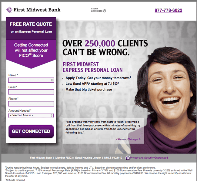 conservative industry landing page example female face