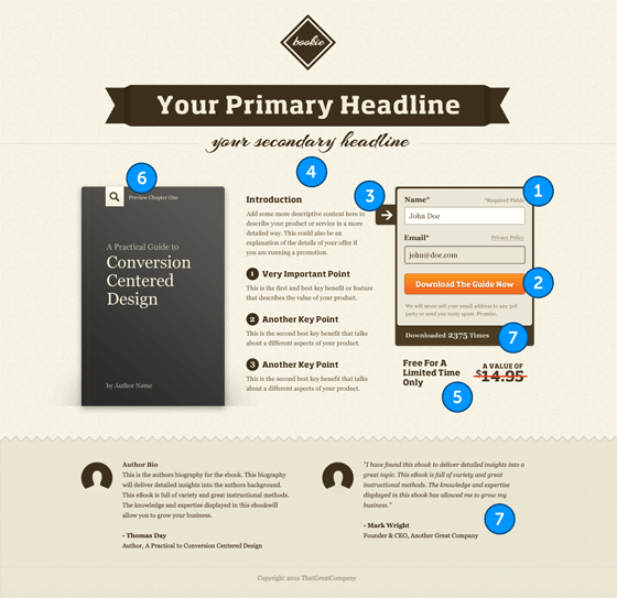 landing page template conversion centered design