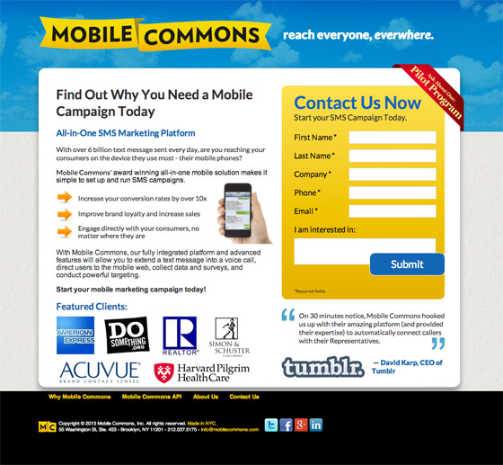mobile commons landing page example