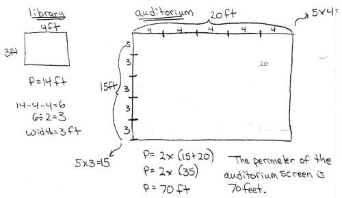 small resolution of the screen in the library is 4 feet long with a perimeter of 14 feet what is the perimeter of the screen in the auditorium
