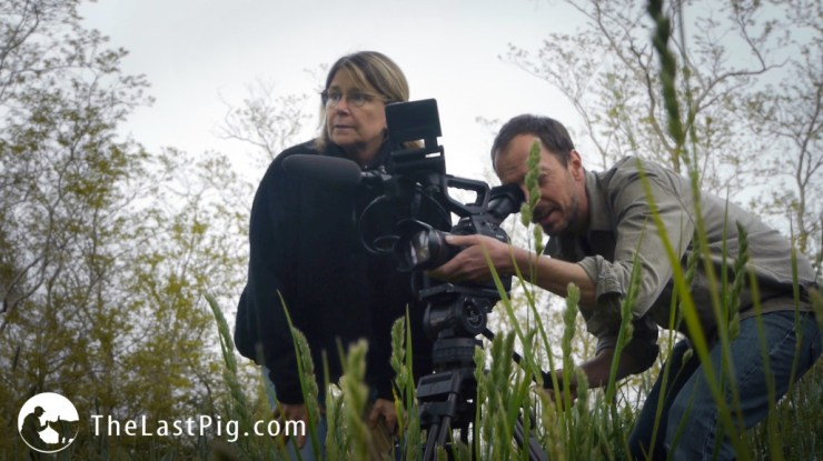 Allison Argo and Joseph Brunette on set for The Last Pig. Photo courtesy of The Last Pig