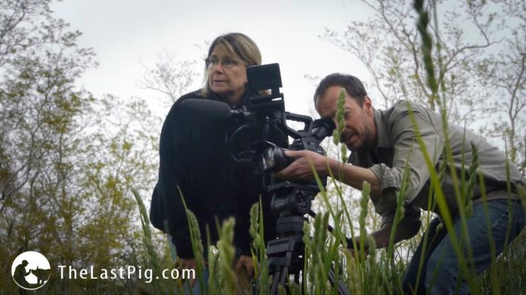 Allison Argo and Joseph Brunette on set for The Last Pig. Photo courtesy of The Last Pig