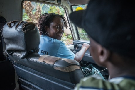 Dr. Gladys driving in Bwindi Impenetrable forest.