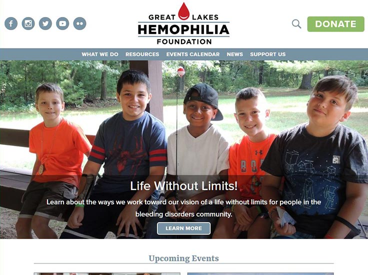 Screenshot of Great Lakes Hemophilia Foundation website