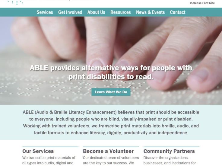 Screenshot of Audio & Braille Literacy Enhancement website