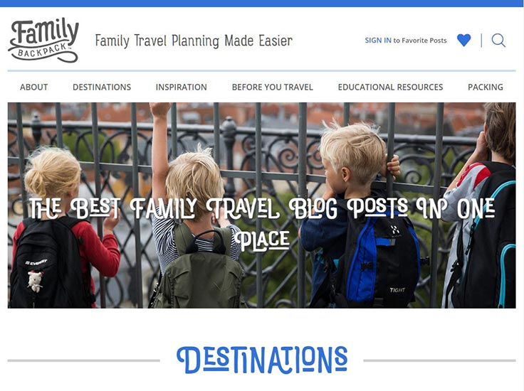 Screenshot of The Family Backpack website