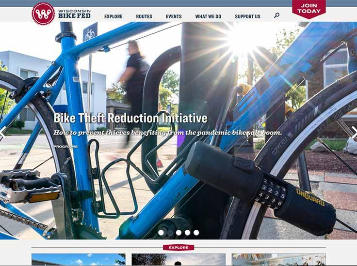 Screenshot of Wisconsin Bike Fed website