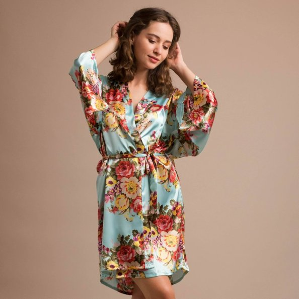 silk flowered robe