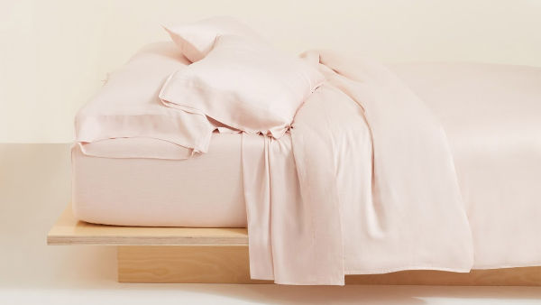 Buffy naturally dyed pink sheets