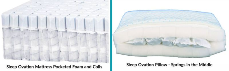 Difference between Sleep Ovation mattress and pillow inside