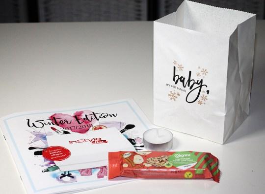 Veganz - Veganer Bio Hanfriegel Apfel-Zimt und Papiertüten-Licht
