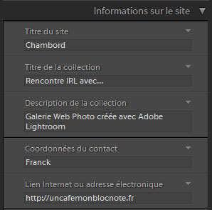 Lightroom informations sur le site