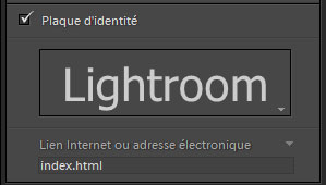 Lightroom informations plaque d'identité