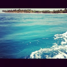 Mar azul y costa playera