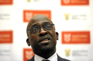 PRETORIA, SOUTH AFRICA APRIL 04: (SOUTH AFRICA OUT): Finance Minister Malusi Gigaba addresses the media on April 04, 2017 in Pretoria, South Africa. Gigaba revealed that Standard and Poor took him into its confidence before announcing South Africas ratings downgrade to junk status on Monday night. (Photo by Felix Dlangamandla/Foto24/Gallo Images/Getty images)