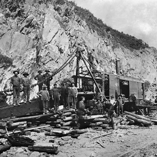 An excavation crew pauses with a rail mounted steam shovel. Steam shovels and air powered drills were initially utilized to excavate the right of way in Manor Township as well as the deep cuts along the line to the east. Kline Collection, Railroad Museum of Pennsylvania, PMHC