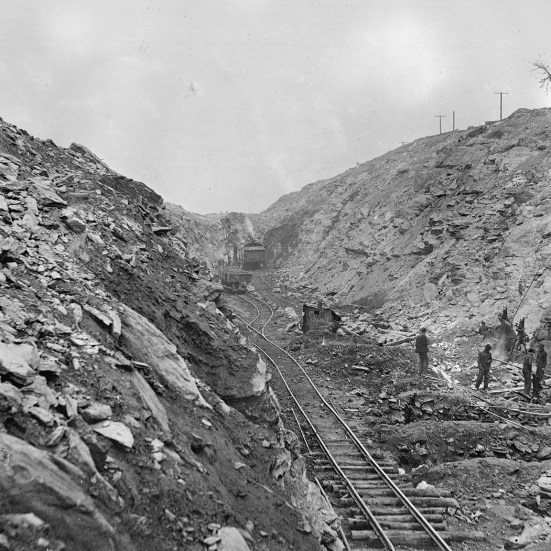 Work near Quarryville had some of the deepest cuts as workers spent an entire year blasting their way through solid rock to maintain the level grade of the A&S. Kline Collection, Railroad Museum of Pennsylvania, PMHC