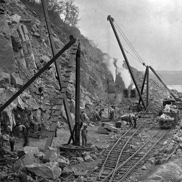 Blasting, the high cliffs and large loose rock along the stretch in Manor Township presented many hazards to the men while constructing the final few miles of the A&S along the Susquehanna River. This photo was likely taken by Lancaster based photographer Harry P. Stoner who was commissioned to document the construction of the A&S. Kline Collection, Railroad Museum of Pennsylvania, PMHC