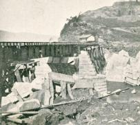 A railroad bridge over the Conestoga River at Safe Harbor lies in ruins after the 1904 ice flood.