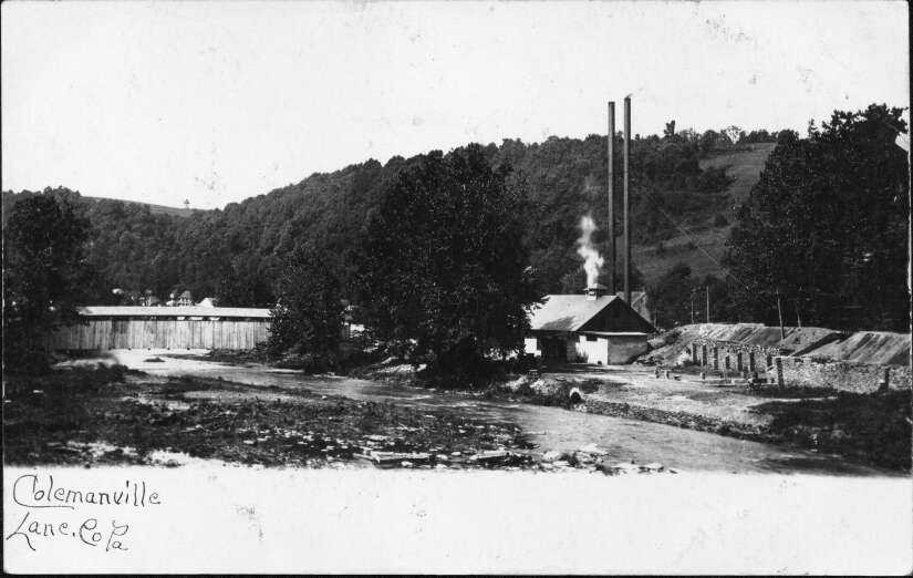View of Colemanville from Martic Township. The Colemanville Covered Bridge, forge, and rolling mill are visible.