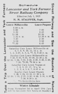Lancaster and York Furnace Street Railway Company schedule for the Millersville to Pequea line.