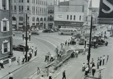 Workers remove trolley tracks from Lancaster's Penn Square on July 14, 1947.