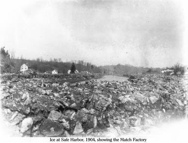 Ice at Safe Harbor 1, 1904, showing the ice left by receeding water on the Conestoga River. Match factory is on the right bank.