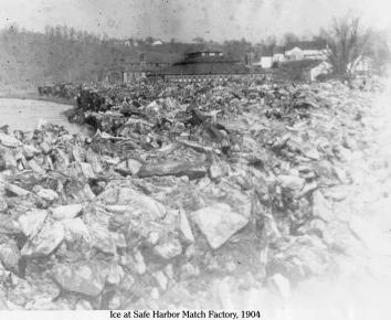 Ice at Safe Harbor 1, 1904, showing the ice left by receeding flood water from the Susquehanna River on the Conestoga River banks.