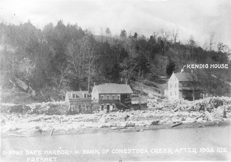 Safe Harbor n. Bank Conestoga Creek after Ice Freshet. Kendig house labeled.
